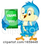 Blue Bird Is Holding A Thank You Card