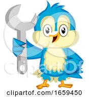 Blue Bird Is Holding A Wrench