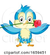 Poster, Art Print Of Blue Bird Is Holding A Red Rose