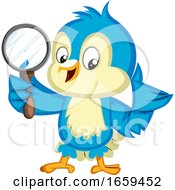 Blue Bird Is Holding A Magnifying Glass