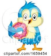 Blue Bird Is Holding A Doughnut
