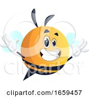 Happy Yellow Waving Bee