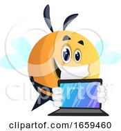 Bee Holding A Laptop Bee Playing On Laptop