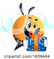 Happy Bee With A Present