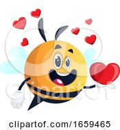 Poster, Art Print Of Bee Holding A Hearth Bee In Love