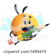 Bee Holding A Pencil