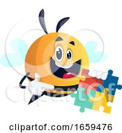 Poster, Art Print Of Bee Holding A Puzzle