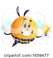 Bee Holding A Light Bulb