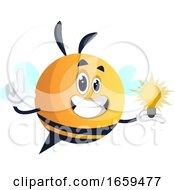 Bee Holding A Light Bulb