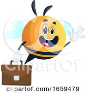 Bee Waving With Briefcase