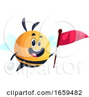 Bee Holding Red Flag