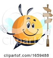 Bee Waving And Holding Road Sign