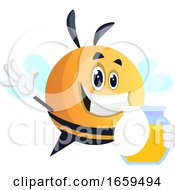 Bee Waving And Holding Honey Jar