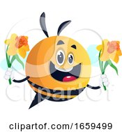 Bee Holding Flowers