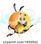 Bee Waving And Holding Honey Dipper