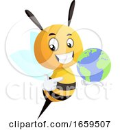 Bee Holding A Globe
