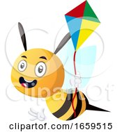 Poster, Art Print Of Bee Holding A Kite