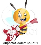 Poster, Art Print Of Bee Playing A Guitar