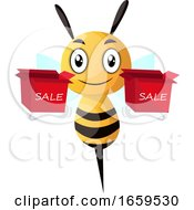 Bee Holding Two Sale Boxes