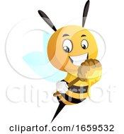 Bee Holding Honey Dipper