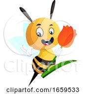 Bee Holding Tulip And Waving by Morphart Creations