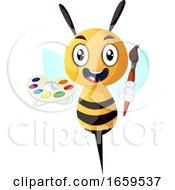 Poster, Art Print Of Bee Holding Paintbrush And Palette