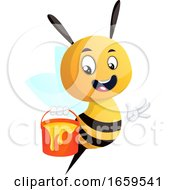 Bee Holding Honey Bucket