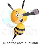 Bee Looking Through Telescope