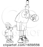 Cartoon Black And White Little Boy Poking A Basketball Player