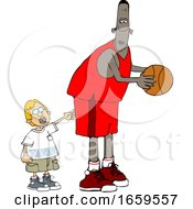Cartoon Little Boy Poking A Basketball Player