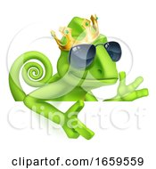 Chameleon Cool King Cartoon Lizard Character by AtStockIllustration