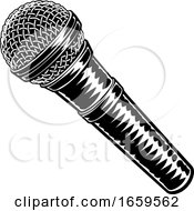 Microphone Vintage Woodcut Engraved Style by AtStockIllustration