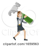 Business Woman Holding Hammer Mascot Concept