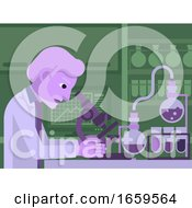 Mature Scientist Working In Laboratory by AtStockIllustration