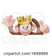 Monkey King Crown Thumbs Up Waving Sign Cartoon