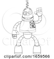 Friendly Robot Kids Coloring Cartoon Character