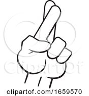 Poster, Art Print Of Cartoon Black And White Male Hand With Crossed Fingers
