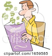 Cartoon White Man Looking At An Expensive Restaurant Menu