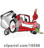 Clipart Picture Of A Red Lawn Mower Mascot Cartoon Character Pointing Upwards by Toons4Biz