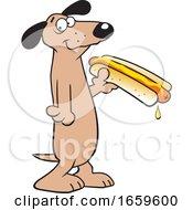 Poster, Art Print Of Cartoon Dachshund Holding A Hot Dog