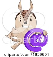 Armadillo Holding Contact Sign
