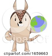 Armadillo With Planet Earth