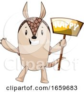 Armadillo With Happy Sign