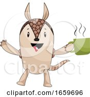 Poster, Art Print Of Armadillo With Coffee
