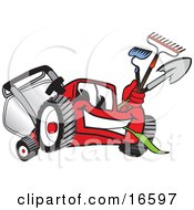Clipart Picture Of A Red Lawn Mower Mascot Cartoon Character Carrying A Hoe Rake And Shovel While Gardening by Toons4Biz