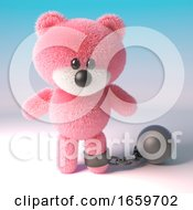Naughty Teddy Bear With Pink Fluffy Fur Wearing A Ball And Chain As Punishment by Steve Young