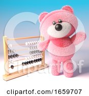 Clever Teddy Bear With Pink Fur Standing By An Abacus Ready To Learn Math by Steve Young