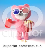 Poster, Art Print Of Teddy Bear With Pink Fur Eating Popcorn And Drinking A Can Of Soda While Watching A 3d Movie
