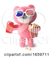 Cute Cuddly Pink Teddy Bear Eating Popcorn And Drinking Soda While Watching A 3d Movie