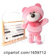Clever Teddy Bear With Pink Fur Waving While Learning To Count Using An Abacus